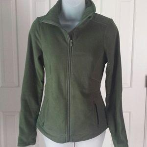 Athleta military green fleece zip up jacket xxs